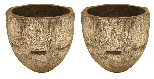 Indonesian Pair Carved Palm Tree Planters