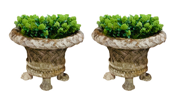 1920's English Pair Basketweave Large Planters