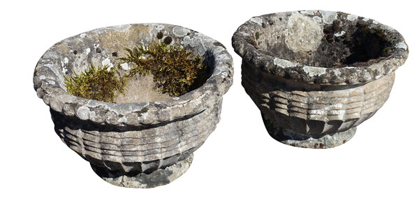 1930's English Pair Stone Pots