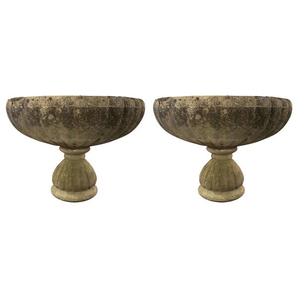 1920's English Pair XL Composition Stone Garden Urns