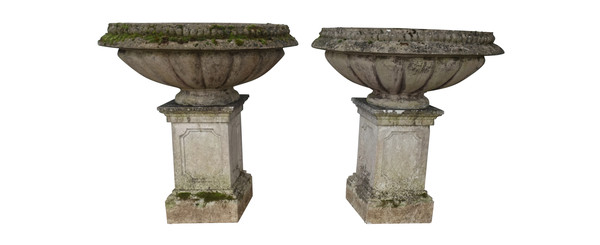 1920's English XXL Pair Stone Garden Urns on Plinths
