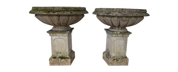 1920's English XXL Pair Stone Garden Urns on Plinths