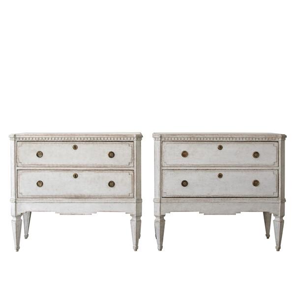 19thc Swedish Pair Gustavian Style Commodes