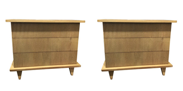 Mid Century American Pair Three Drawer Commode