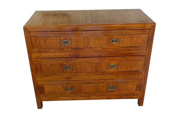 1940's French Bamboo Inlay Commode