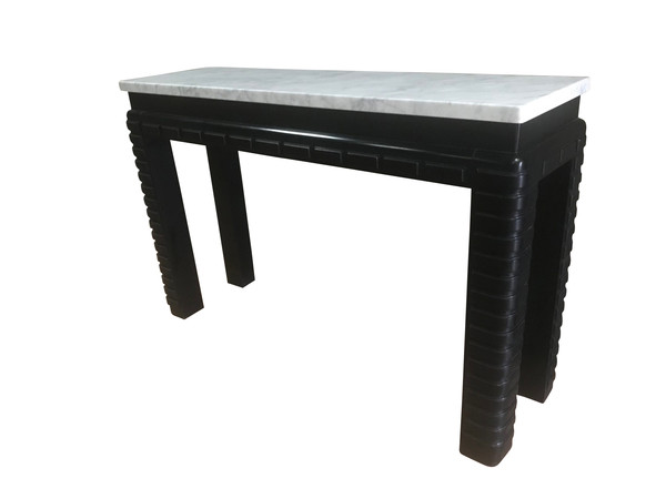 1930'S French Ebonized Base /  Marble Top Console