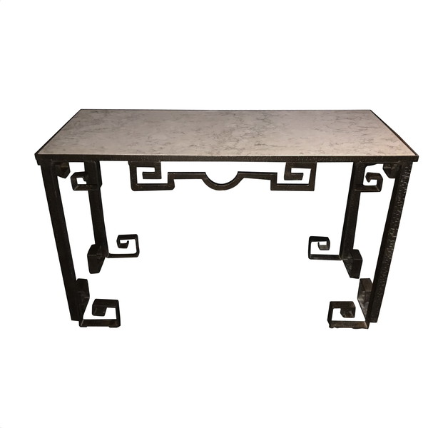 1950's French Hammered Iron Console Table