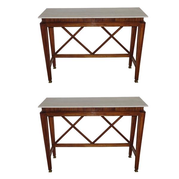 1950's Italian Pair Walnut Console Tables