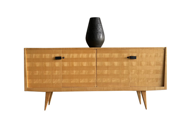 1950's French Striped Blonde Ash Credenza