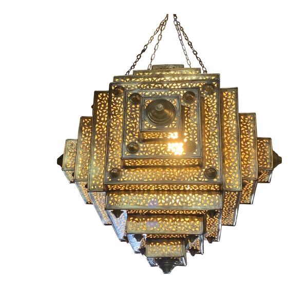 Contemporary Moroccan Bronze Square Chandelier