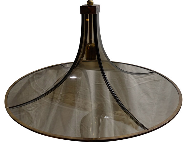 1970's Italian Round Curved Glass  Chandelier