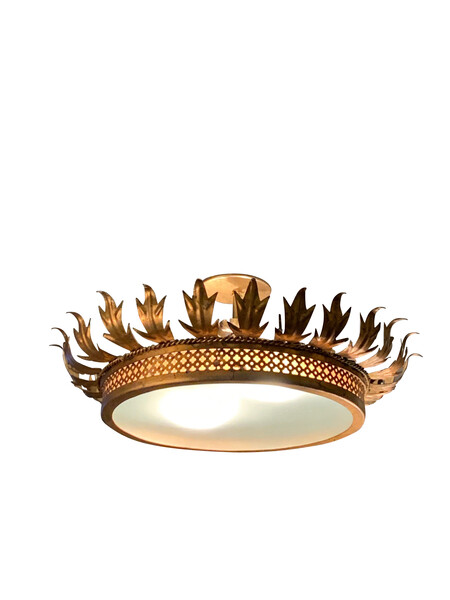 Mid Century Spanish Gold Metal Crown Chandelier