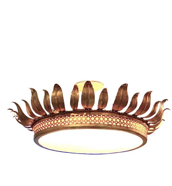 Mid Century Spanish Gold Gilt Metal Crown Chandelier