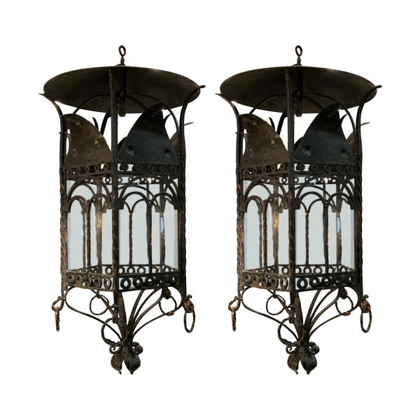 1940's French Pair Black Iron Lanterns