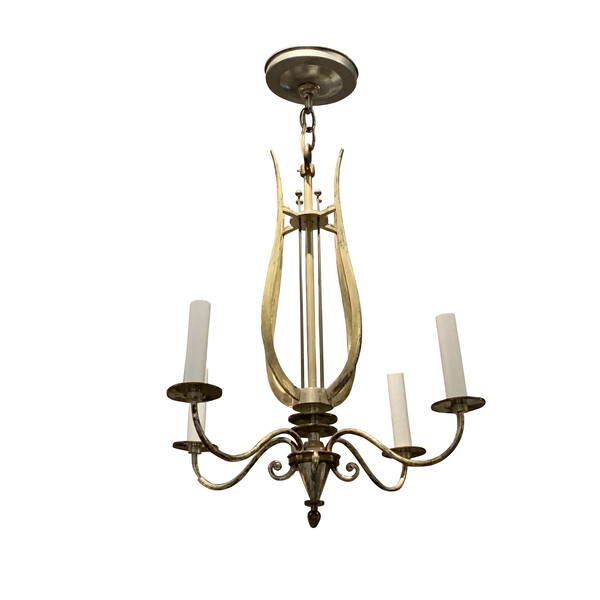 1940's French Silver Bronze Chandelier