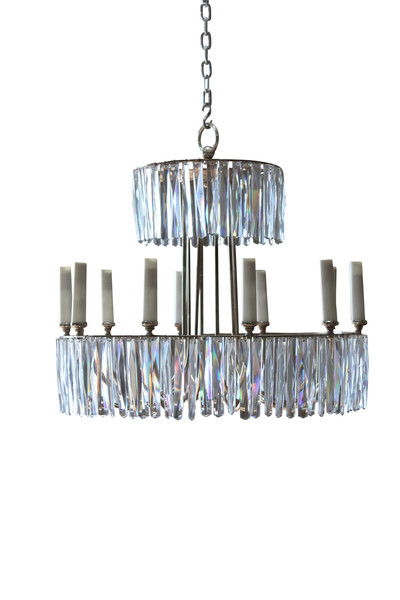1960's French Two Tier Crystal Chandelier