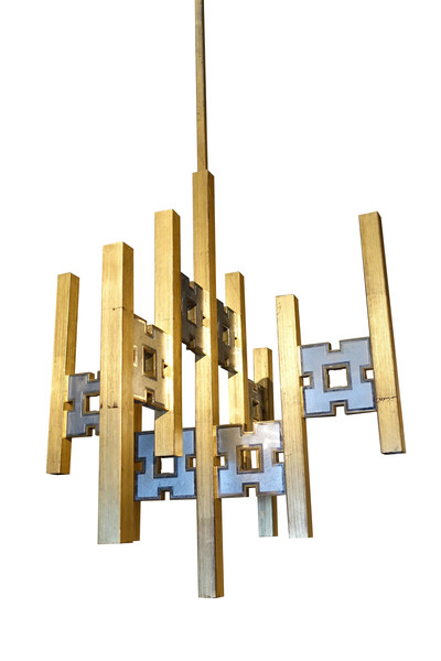 1970's Italian Brushed Brass and Silver Chandelier
