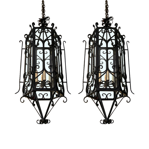 1950's Pair Wrought Iron Lanterns