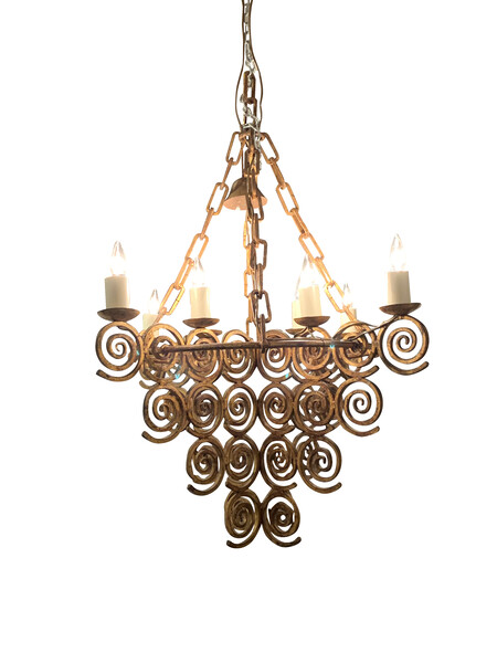 1950's Spanish Gold Gilt Wrought Iron 8 Arm Chandelier