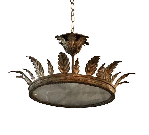 1940's Spanish Gold GIlt Metal Crown Chandelier