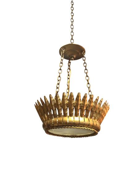 1940's Spanish Gold Gilt Metal Crown Chandelier