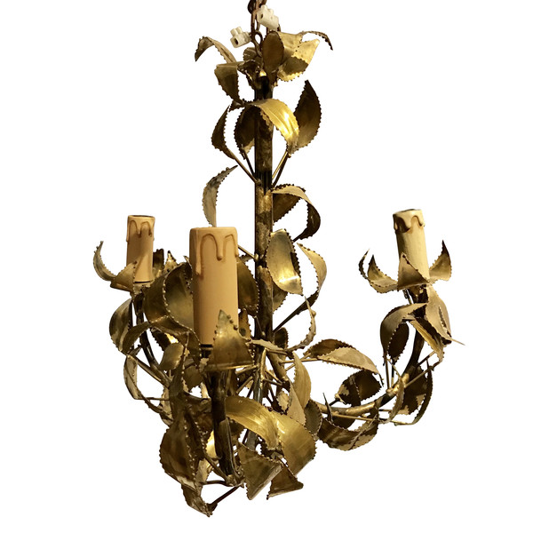 Three Arm Gold Gilt Metal Chandelier