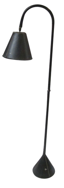 Mid Century Spanish Valenti Black Leather Floor Lamp
