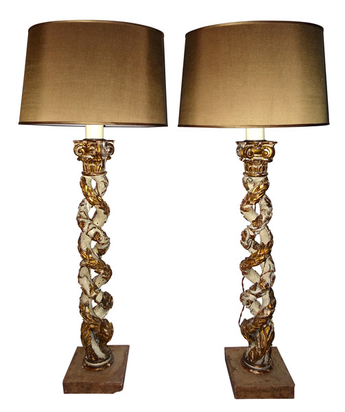 18thc Italian Pair Carved Column Lamps