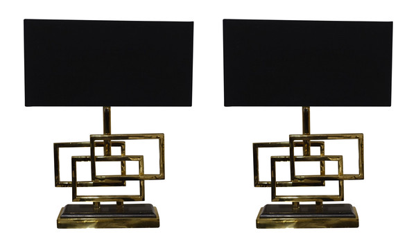 Contemporary Belgian Pair Brass Triple Box Lamps