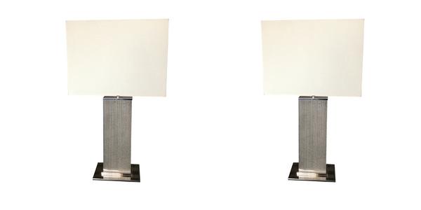 Contemporary Belgian Pair Grey Column Lamps