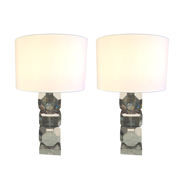 Contemporary Belgian Pair Smoked Crystal Lamps