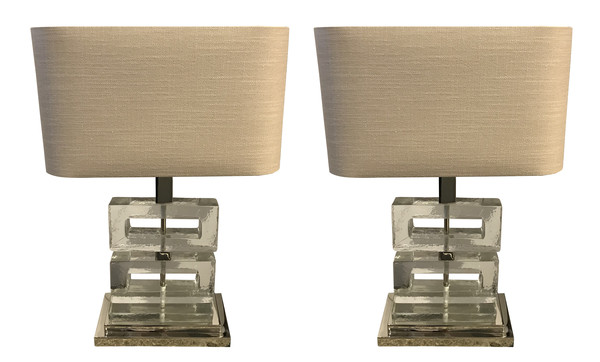 Contemporary Belgian Pair Textured Glass Lamps