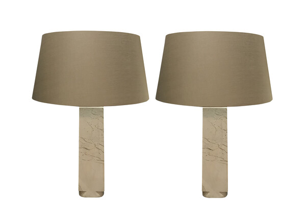 Contemporary Chines Pair White Marble Lamps