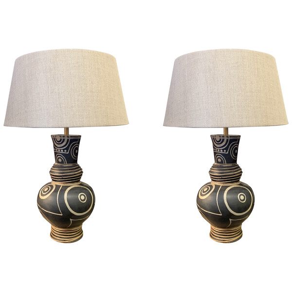 Contemporary Chinese Pair African Design Lamps