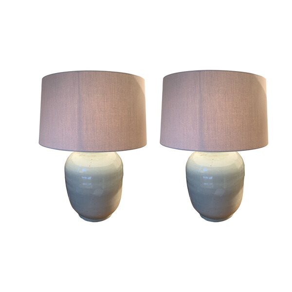 Contemporary Chinese Pair Barrel Shaped Lamps