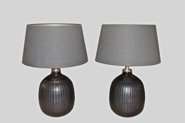 Contemporary Chinese Pair Black Glass Lamps