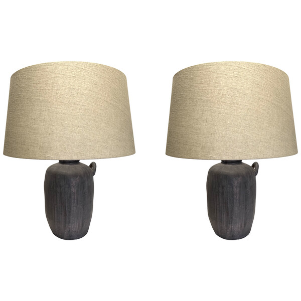 Contemporary Chinese Pair Cement Colored Column Shaped Lamps