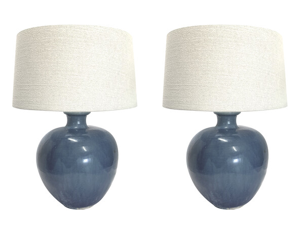 Contemporary Chinese Pair Deep Blue Lamps