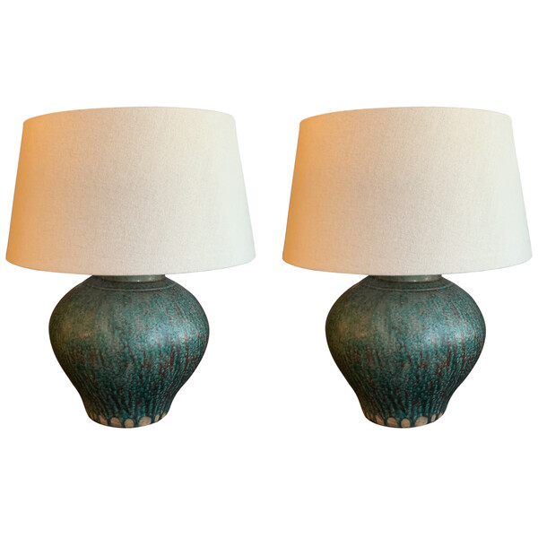 Contemporary Chinese Pair Textured Turquoise  Ginger Jar Shaped Lamps