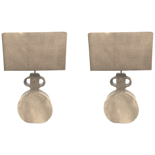 Contemporary Indian Pair Faded White Lamps