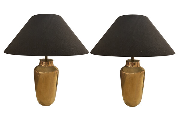 Contemporary Chinese Pair Faux Shagreen Lamps