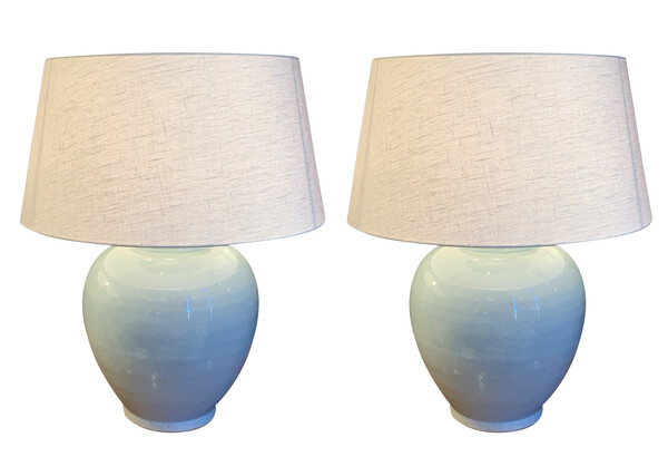 Contemporary Chinese Pair Globe Shaped Pale Blue Lamps