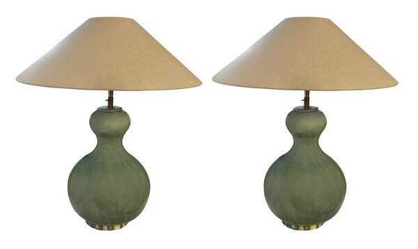 Contemporary Chinese Pair Gourd Shaped Washed Turquoise Lamps