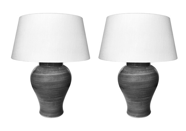 Contemporary Chinese Pair Gray Striated Design Lamps