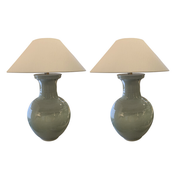 Contemporary Chinese Pair Large Pale Turquoise Lamps