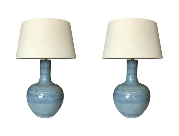 Contemporary Chinese Pair Large Blue Lamps