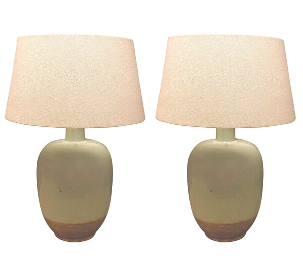Contemporary Chinese Pair Pale Blue Lamps