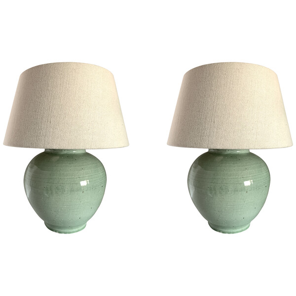 Contemporary Chinese Pair Celadon Ginger Jar Shaped Lamps