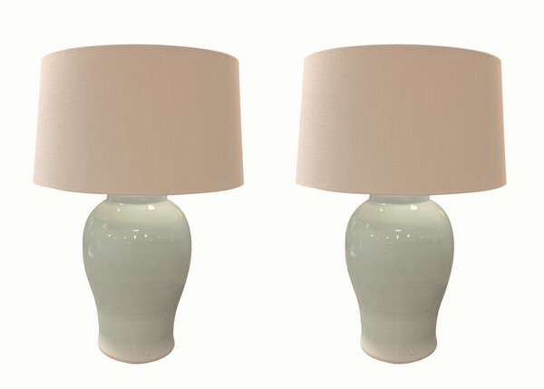 Contemporary Chinese Pair Pale Turquoise Lamps