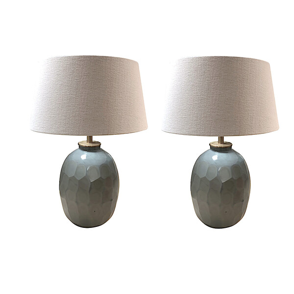 Contemporary Chinese Pair Prism Cut Pale Blue Glass Lamps